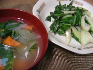 ピッチャイの中華風スープと塩コショウ炒め