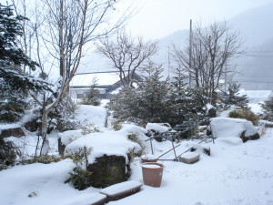 マルシェ前の雪景色